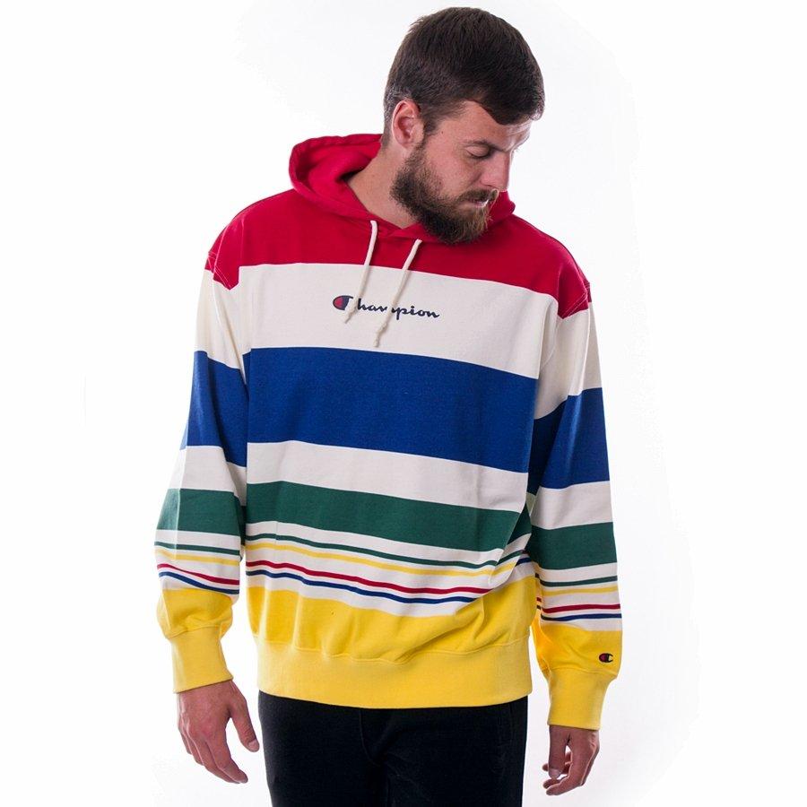 Bluza męska z kapturem Champion Hoody Stripes red white blue yellow (213002 WL009)