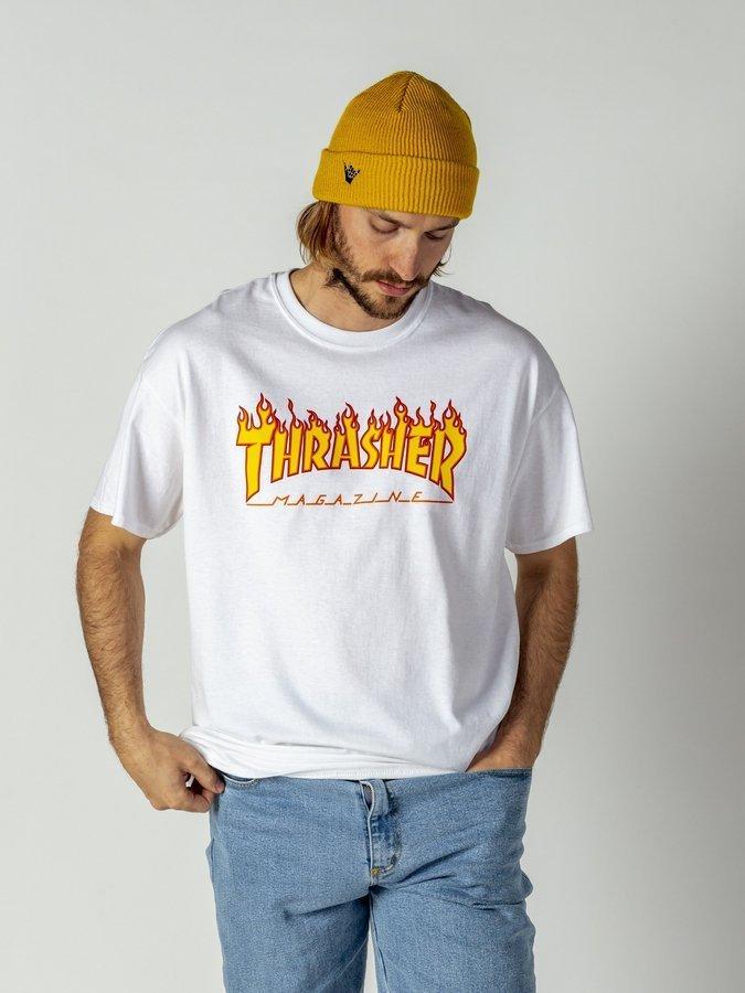 Koszulka męska Thrasher Flame Logo white