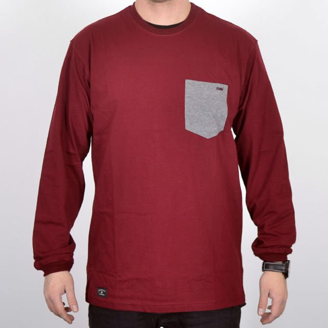Koszulka LS Nervous Sp18 Pocket Maroon Grey