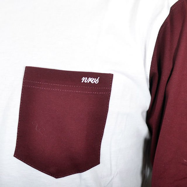Koszulka LS Nervous Sp18 Pocket White Maroon