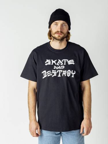 KOSZULKA THRASHER SKATE AND DESTROY BLK