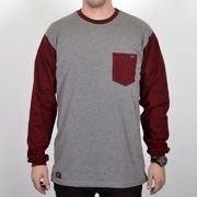 Koszulka LS Nervous Sp18 Pocket Grey Maroon